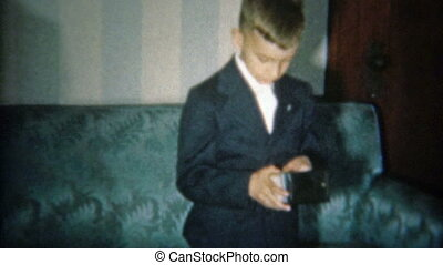 1951: Boy shows money from first - Vintage 8mm film home...