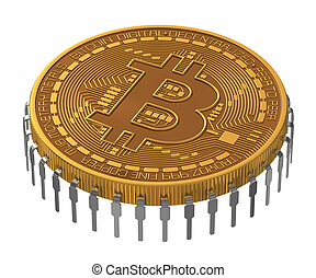 Bitcoin Microchip On White Background 3D Model