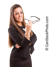 Woman wearing glasses - Beautiful young woman wearing...