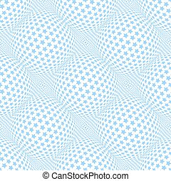 Seamless blue stars pattern. 3D optical illusion.