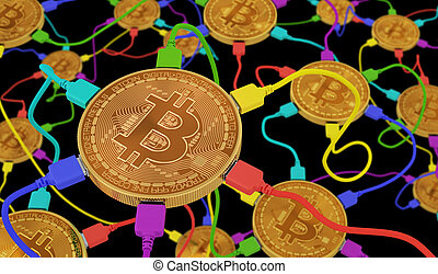 Bitcoins Connected To The Neural Network On Black Background