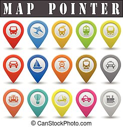 Map pointer for transport on a white background with a...