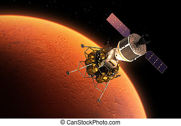 Interplanetary Space Station Orbiting Red Planet 3D Scene