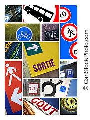 Road signs - Various road signs and symbols on a collage