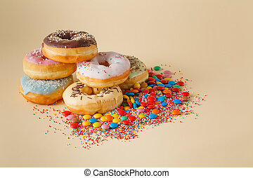 Party decoration. Donuts with confetti