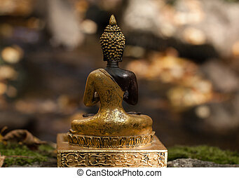 Buddha figure back in a forest - Buddha figure outside the...