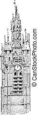 Belfry, vintage engraving. - Belfry, vintage engraved...