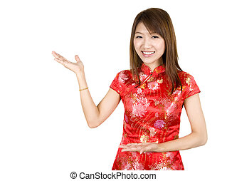 Happy Chinese New Year. - Chinese Asian woman in Traditional...