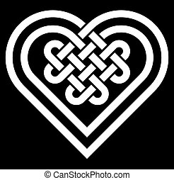 Celtic heart shape knot vector illustration (black and...