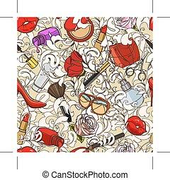 Beauty doodle pattern