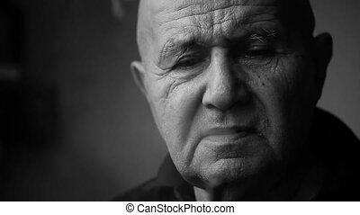 Old man face closeup. - Old man face closeup black and white...