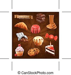 Confectionery vector icons - Set with confectionery, vector...