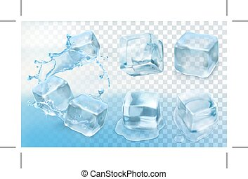 Ice cubes icons - Set with Ice cubes, icons with...