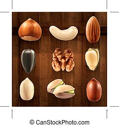 Nuts, icons - Set with nuts, icons