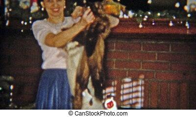 1954: Women gets mink fur stole for - Vintage 8mm film home...