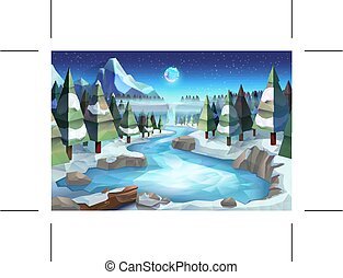 Winter forest background