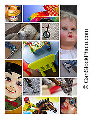 Toys and puppets - Various toys and puppets on a collage