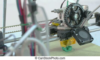 Three Dimensional Printer - Detailed view at 3D printer in...