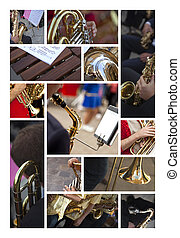 Musical instruments - Various musical wind instruments on a...