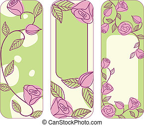 Three springtime hand drawn vertical banners with roses