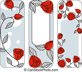 Three classic hand drawn vertical banners with roses