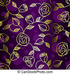Seamless hand drawn gold filigree with roses - Hand drawn...
