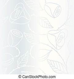 Silver seamless hand drawn pattern with roses