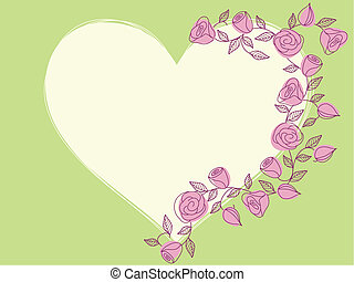 Springtime hand drawn heart with roses