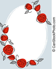 Classic hand drawn frame with roses - Hand drawn frame with...