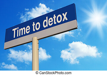 Time To Detox road sign with blue sunny sky background.