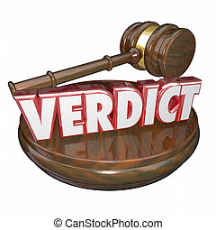 Verdict 3d Red Word Judge Decision Wood Gavel - Verdict word...