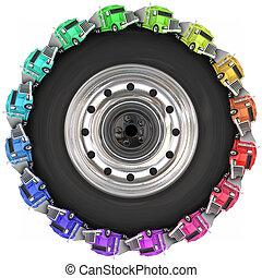 Trucks Driving Around Tire Wheel Over Road Trucking