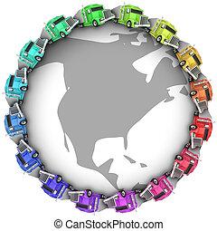 Trucks Driving Around Earth North America USA Canada Mexico
