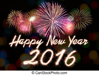 New year - Happy new year 2016 written with Sparkle firework