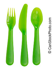 Utensil - Tableware. Set of colored plastic fork, knive and...