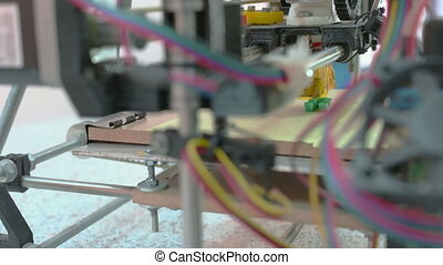 Three Dimensional Printer - Detailed view at 3D printer...