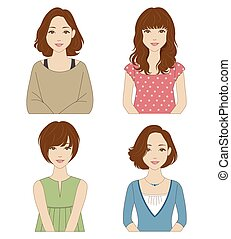 Women with different hairstyles - Young women with different...