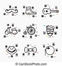 hipster infographic - hipster line infographic illustration...