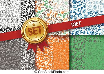 Set of diet backgrounds with doodle icons in different colors