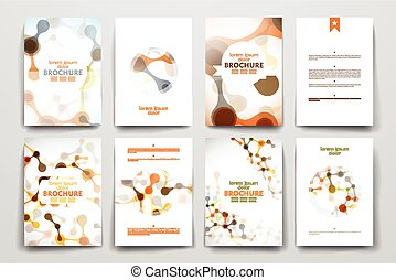 Set of brochure, poster design templates in DNA molecule...