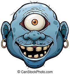 Monster - Vector illustration of Cartoon Monster face
