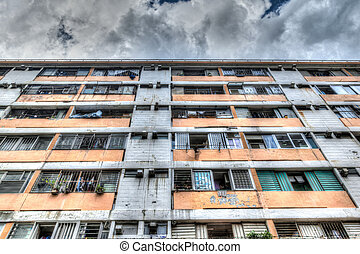 Typical Old Public Residential Building in Hong Kong