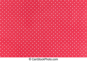 Polka dot - White dots over red Polka dot fabric background...