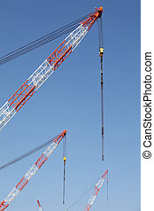 crane boom with steel hook - Building crane boom with steel...