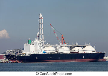 Container cargo ship - LNG cargo ship docked in the...