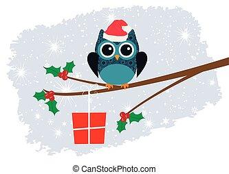 owl in santa hat