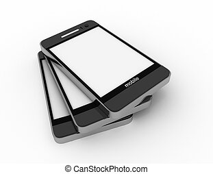 Modern mobile phones with touchscreen