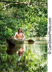 Indigenous Wooden Canoe - Indigenous Adult Man On Typical...