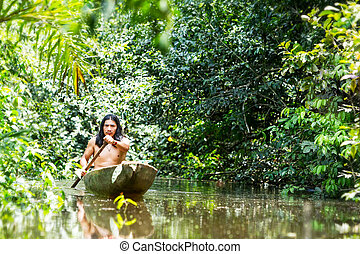 Indigenous Canoe Transportation Amazon - Indigenous Adult...