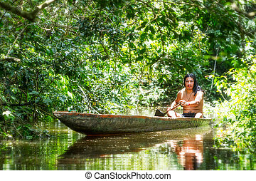 Indigenous Man Fishing - Indigenous Adult Man On Typical...
